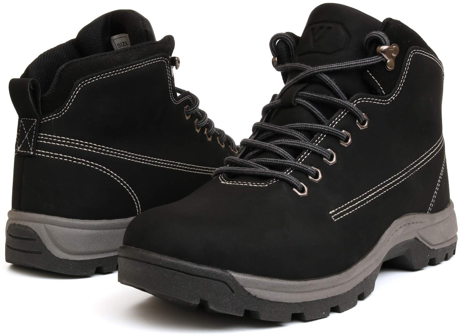 WHITIN Men's Mid Soft Toe Leather Insulated Work Boots Construction Rubber Sole Roofing Waterproof for Outdoor Hiking Winter Snow Concrete Backpacking Mountaineering Hiker Field Black Size 12 by WHITIN