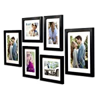 Art Street - Set of 6 Individual Black Wall Photo Frames Wall Hanging(Mix Size) (4 Units 5X7, 2 Units 8X10 inch)