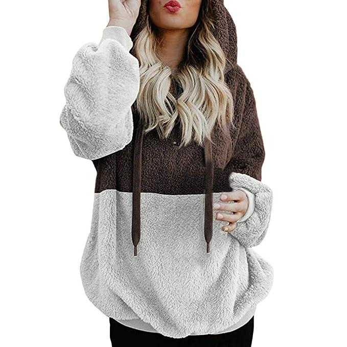 DEELIN Moda De La Mujer De Dos Colores De Costura Felpa Encapuchado Sudadera Invierno Caliente Cremallera Escote Camisa SuéTer De Las Hoodies: Amazon.es: ...