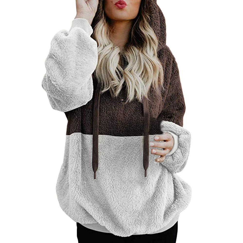 NREALY New Women's Hoodie Sweatshirt Winter Warm Zipper Pocket Pullover Blouse Shirts(2XL, Coffee)