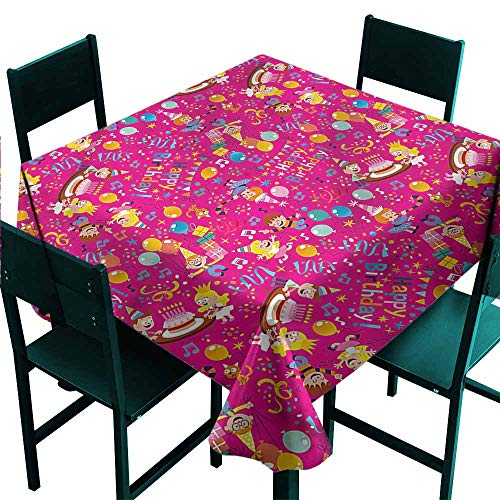- DONEECKL Antifouling Tablecloth Birthday Children Party Cake Happy Party W70 xL70