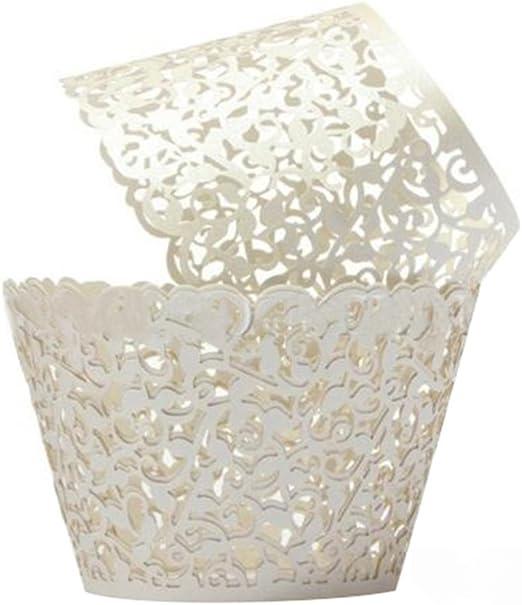120 x White Pearl Lace Filigree Wedding Cupcake Wrapper Baking Cake Cups Wraps
