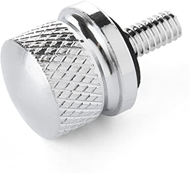 Amazicha Chrome Knurled Billet Aluminum Screw Seat Bolt Knob Cover Tab for Harley Sportster DYNA Softail Touring Models 1996-2018 live4fun