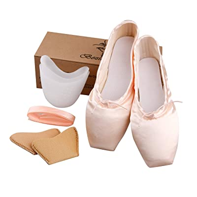 KUKOME Ballet Dance Shoes Pink Satin Pointe Shoes with Ribbon and Toe Pads for Ladies: Sports & Outdoors