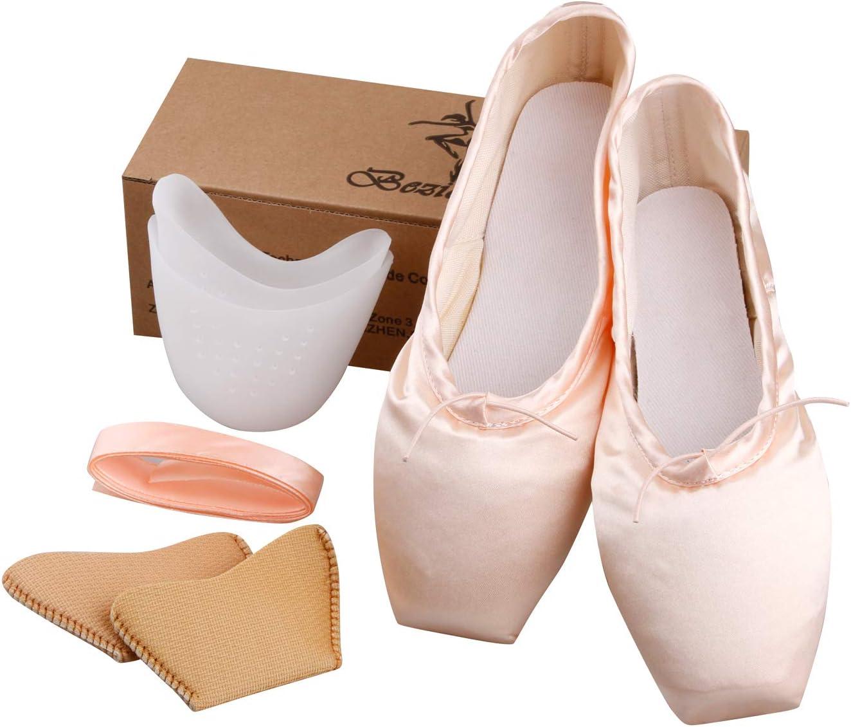 KUKOME Ballet Dance Shoes Pink Satin