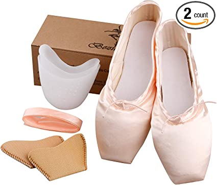 low cost new product get cheap Amazon.com: KUKOME Ballet Dance Shoes Pink Satin Pointe Shoes with ...