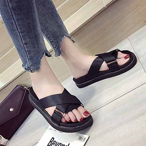 Slip Beach Female Sandals Sandy green Comfortable Flat Sandals Summer Non Thick Fashion And Belt Slippers Women'S With Cross paqFA