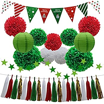 Halloween Party Hanging Paper Tassels with Paper Pom Poms,Ghosts,Spiders and Happy Halloween Banners Set 34Pcs Tuoyi Scare Halloween Party Decorations Kit