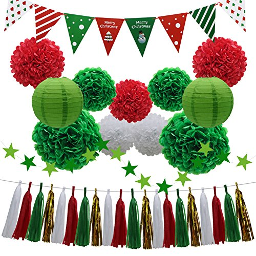 33pcs Christmas Party Decorations Supplies Set - Paper Lanterns Tassels Hanging Garland Banner Tissue Pom Poms Flowers Triangle Flag Bunting for Bridal Baby Showers Birthday Events (White, Red, Green)