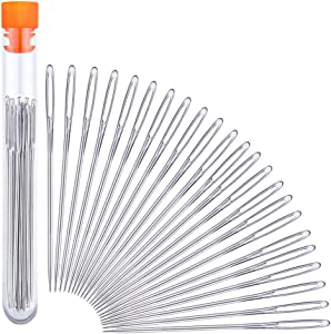 23 PCS Large Eye Sewing Needles, 2.36in Sewing Sharp Needles, Leather Needle Embroidery Thread Needle, Stainless Steel Yarn Knitting Needles with a 3.3in Plastic Bottle