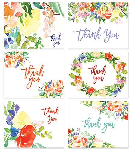 24 Floral Thank You Cards ( Set of 24 ) Any Occasion Bridal Shower Baby Rainbow Colorful Notecards & Envelopes Premium Assorted Boho Variety Blank Inside Business Stationery Excellent Value VTA0003B (Any Invitation Design)