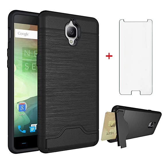 pretty nice d4c98 44abd Oneplus 3/3T Wallet Phone Case A3000 Accessories with Tempered Glass Screen  Protector Credit Card Holder Stand Kickstand Heavy Duty Rugged Hard Cover  ...