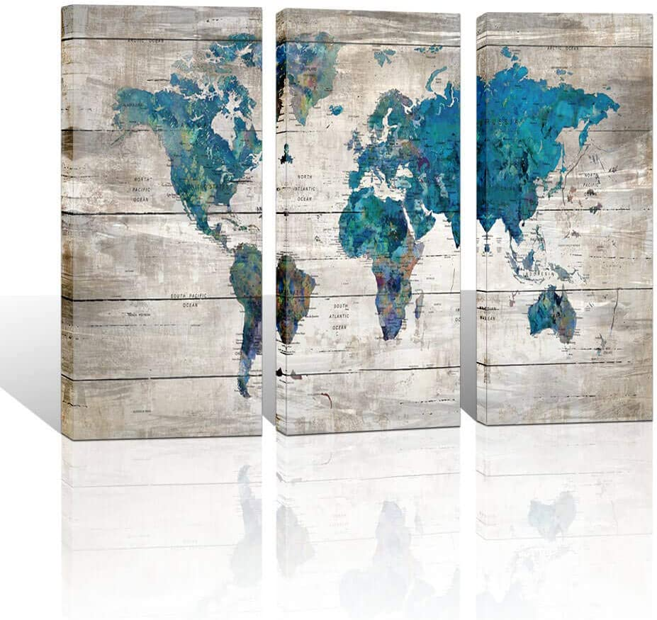 Large World Map Canvas Wall Art for Living Room Framed Wall Decor Watercolor World Map Gray Background Theme Picture Artwork Modern Bedroom Wall Decoration 16x32 inche Each Panel Ready to Hang