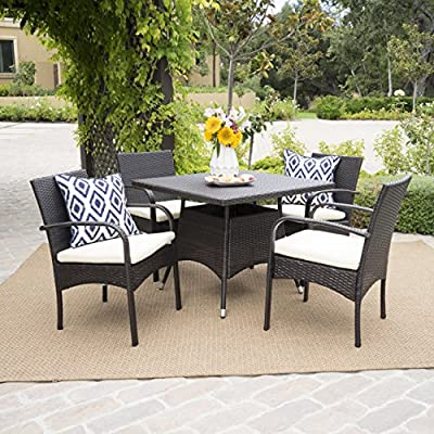 Christopher Knight Home 295858 Carmela 5 Piece Outdoor Patio Furniture Wicker Dining Set, Brown - Includes: 4 outdoor wicker dining chairs and 1 square outdoor Dining Table Constructed from: all-weather Brown PE wicker material Tools included - for easier assembly - patio-furniture, dining-sets-patio-funiture, patio - 61ElnNe9M6L. SS400  -