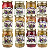 Jake & Amos Pickles, Pickled Vegetables, Pickled Eggs and Salsa Mega Gift Pack (1-16 oz. Jar Each of 12 Varieties)