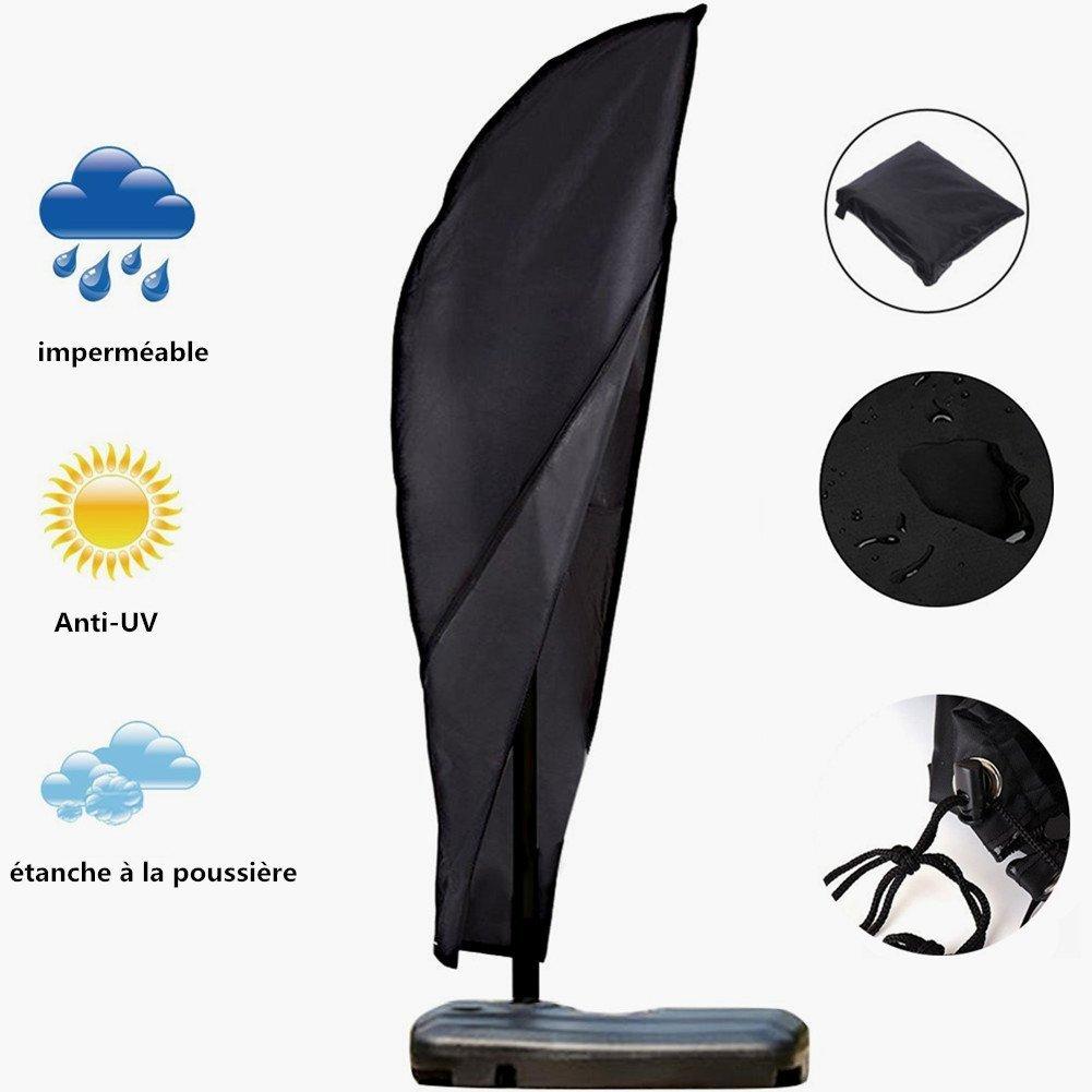 Schutzhülle für Sonnenschirm, Abdeckung Sonnenschirm Schutzhülle für Ampelschirm Garten Sonnenschirm Abdeckung mit Reißverschluss, 210D Oxford Wasserdicht / Anti-UV mit Aufbewahrungstasche für Outdoor-Regenschirm, Banana Umbrella, Roman Sonnenschirm - Schw