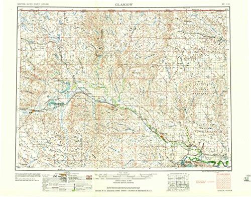 YellowMaps Glasgow MT topo map, 1:250000 Scale, 1 X 2 Degree, Historical, 1958, 22 x 28.1 in - Polypropylene