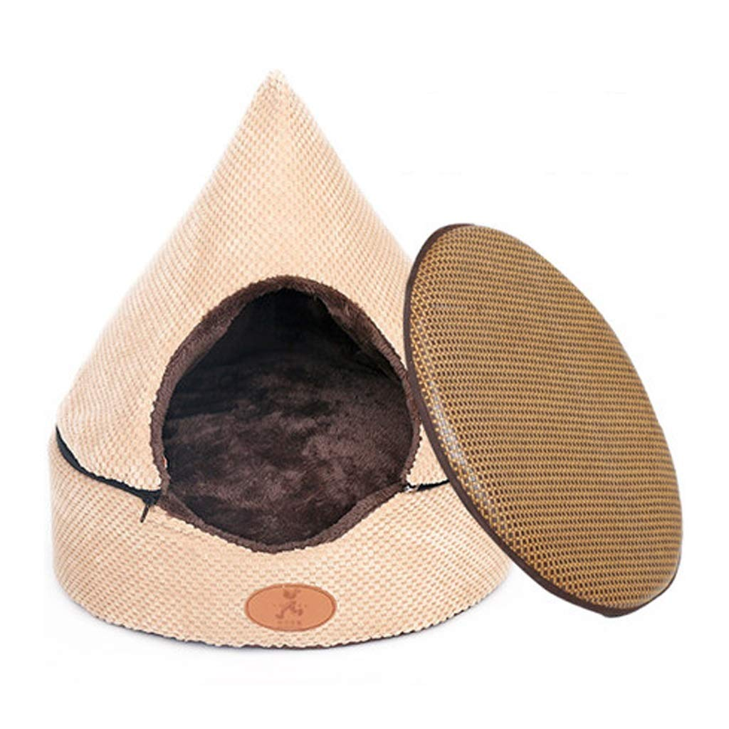 White(Fossa+Mat) M 565656cm White(Fossa+Mat) M 565656cm C_-1X Cat and Dog Bed, Cat Litter, Closed Small Medium Dog Detachable Tent, Tent House, Indoor, Pet Yurt, Yurt Tent, (Black White) (color   White(Fossa+Mat), Size   M 56  56  56cm)