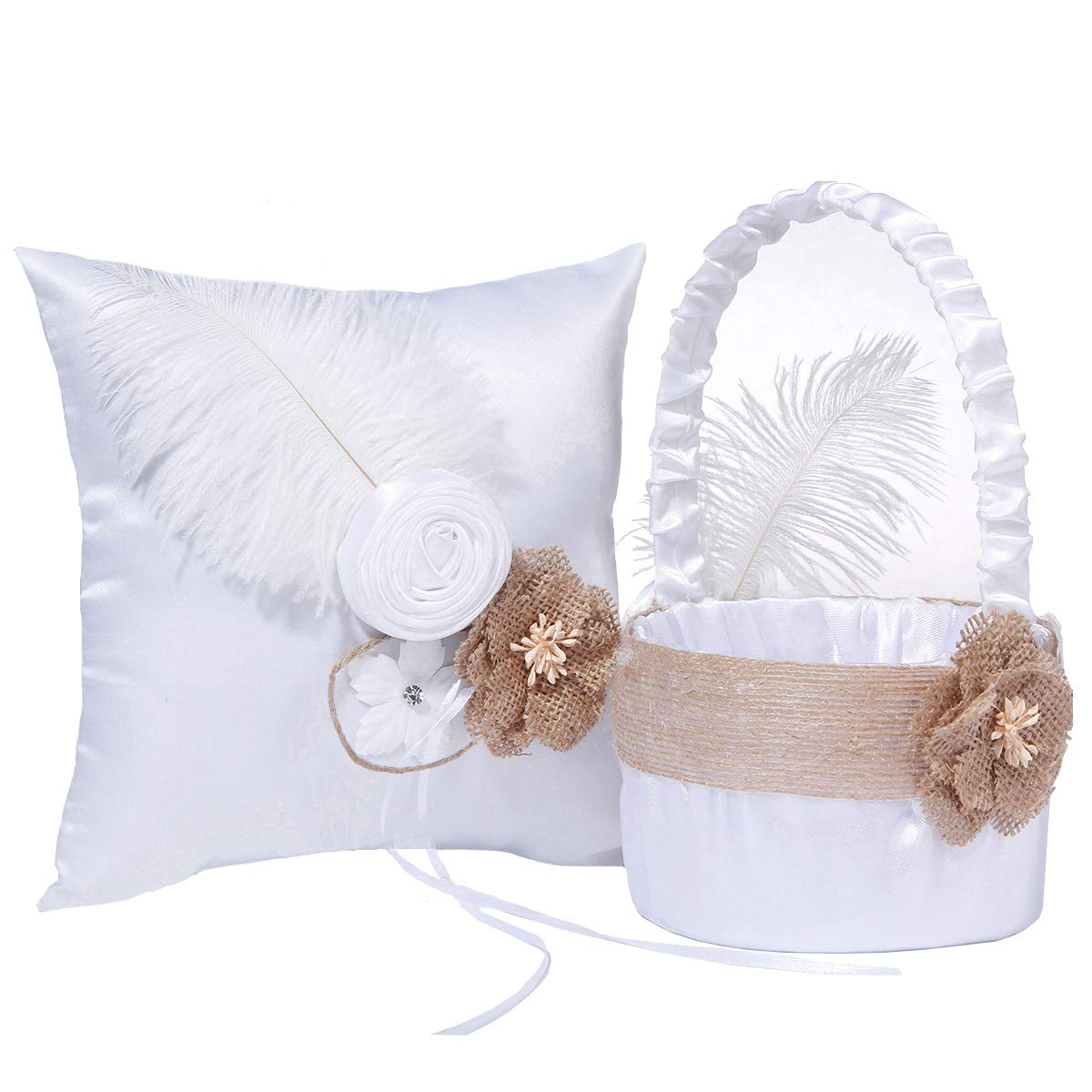M&A Decor Wedding Flower Girl Basket Ring Bearer Pillow Elegant White Satin Set with Feather Burlap Flowers,2019 New by M&A Decor