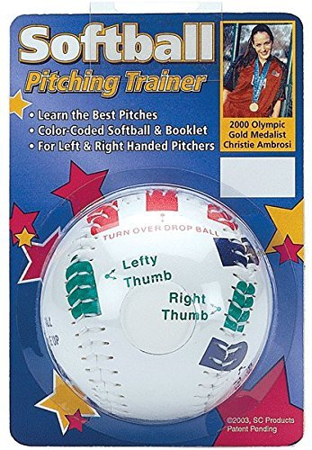 Softball Pitcher Grip Trainer from Olympic Gold Medialist Christie Ambrosis (Easy Color Coded Finger Placement)