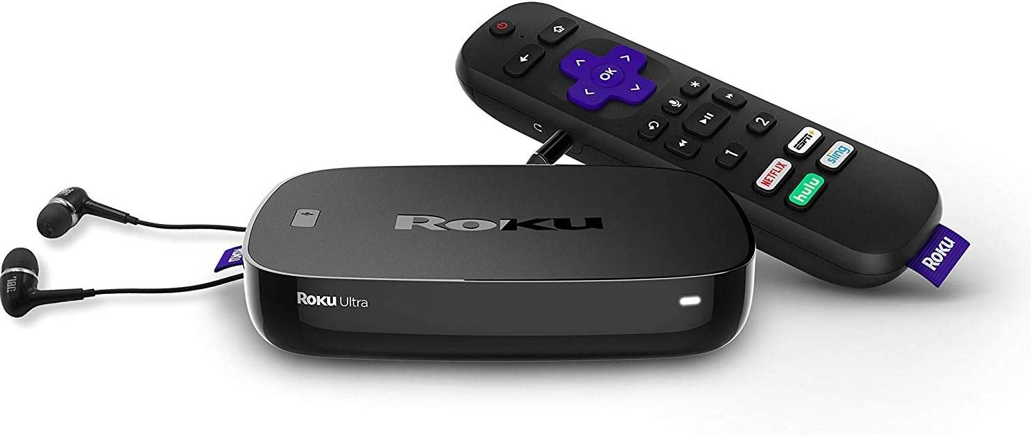Newest Roku Ultra Streaming Media Player 4K/HD/HDR Bundle | Premium JBL Headphones | Enhanced Voice Remote with TV Controls and Shortcuts | HDMI, Ethernet, and Micro SD Ports | High-Speed 4K HDMI Cabl