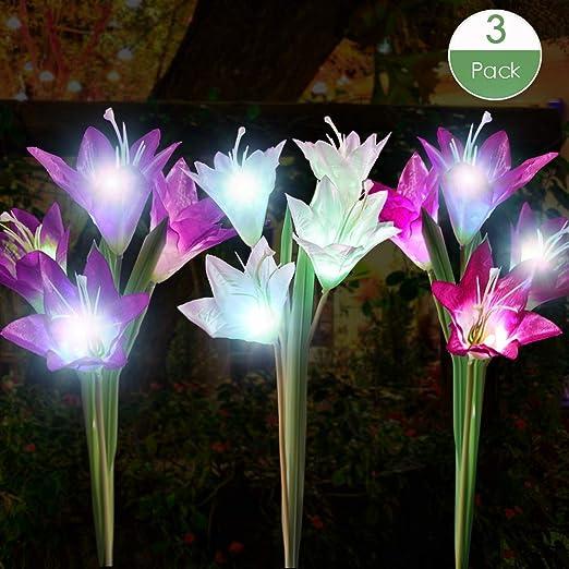 Luces solares para exteriores, paquete de 3 luces solares impermeables para jardín con 12 flores de lirio, césped, jardín, decoración de patio (morado, blanco y rosa): Amazon.es: Iluminación
