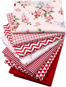 Hanjunzhao Red Fat Quarters Fabric Bundles 18x22 inch Wave Plaid Solids Floral Print for Quilting Sewing Crafting