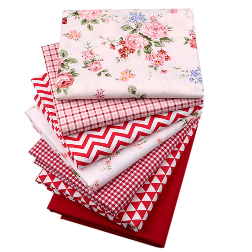 Red Print 100% Cotton Fat Quarters Fabric Bundles, Precut Quilting Fabric for Sewing Crafting,18'' x 22'' by Hanjunzhao