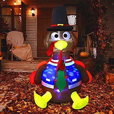 VIVOHOME 5ft Height Thanksgiving Inflatable LED Lighted Turkey with Hat Blow up Outdoor Lawn Yard Decoration