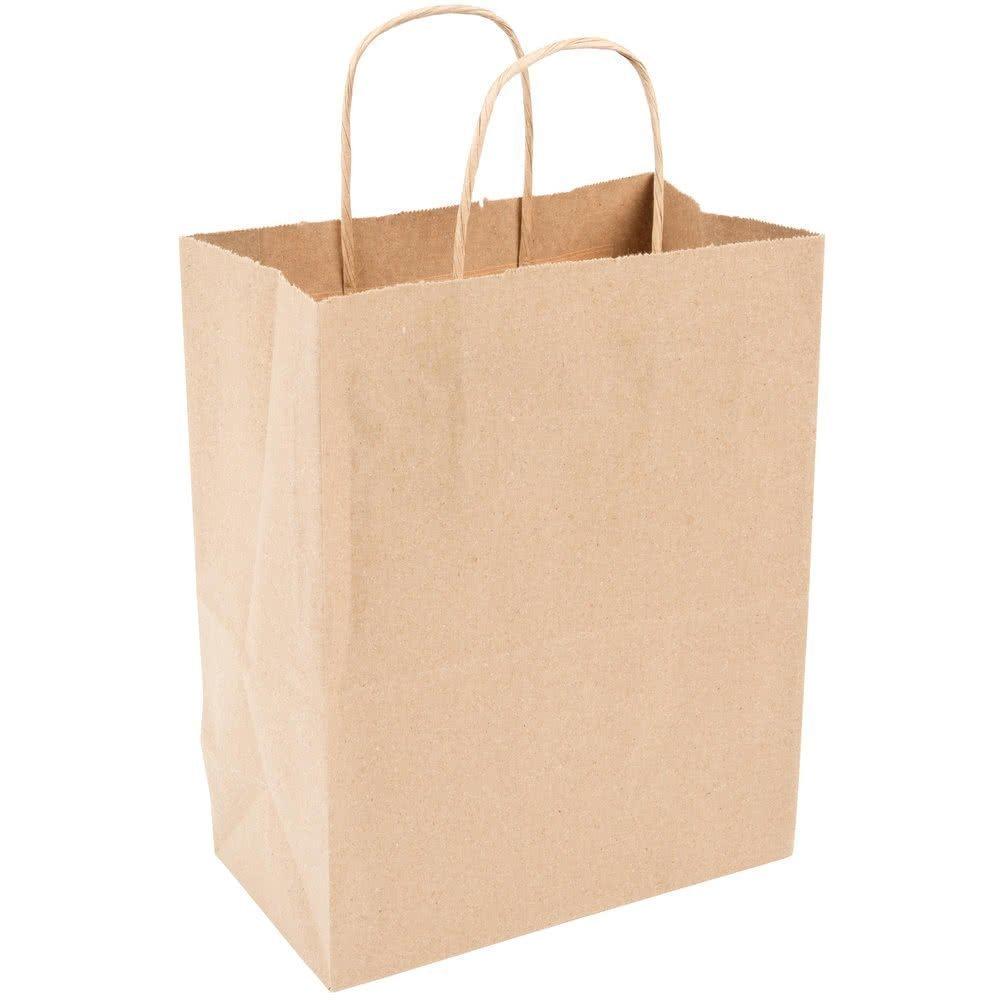 500 Kraft Shopping Bag 60# Natural Kraft Paper, 8 1/4 x 4 3/4 x 10 1/2'' -500 Bags- Mechandise, Party, Gift Bags