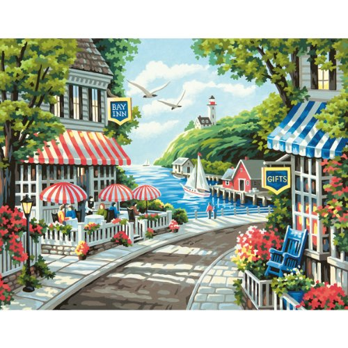 Dimensions Crafts 73-91455  Paintworks Paint by Number Kit, Cafe by The Sea