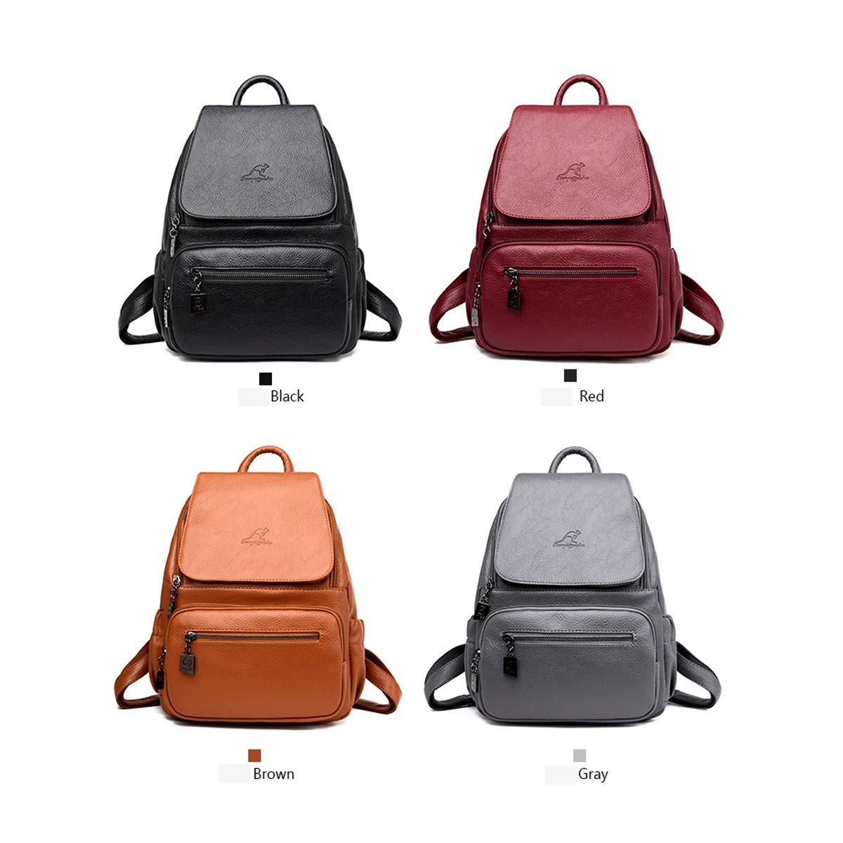 Black//Gray//Red//Brown Haoyushangmao Girls Multifunctional Backpack for Daily Travel//Outdoor//Travel//School//Work//Fashion//Leisure Simple and Stylish. PU Leather