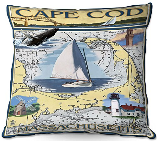 DiaNoche Designs Outdoor Patio Couch Throw Pillows from by Lantern Press - Cape Cod Map ()