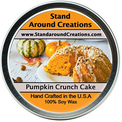 - Premium 100% All Natural Soy Wax Aromatherapy Candle - 8oz Tin - Scent: Pumpkin Crunch Cake - The aroma of creamy pumpkin pie filling, surrounded with freshly baked yellow cake, melted butter, pecans, and hints of spice.