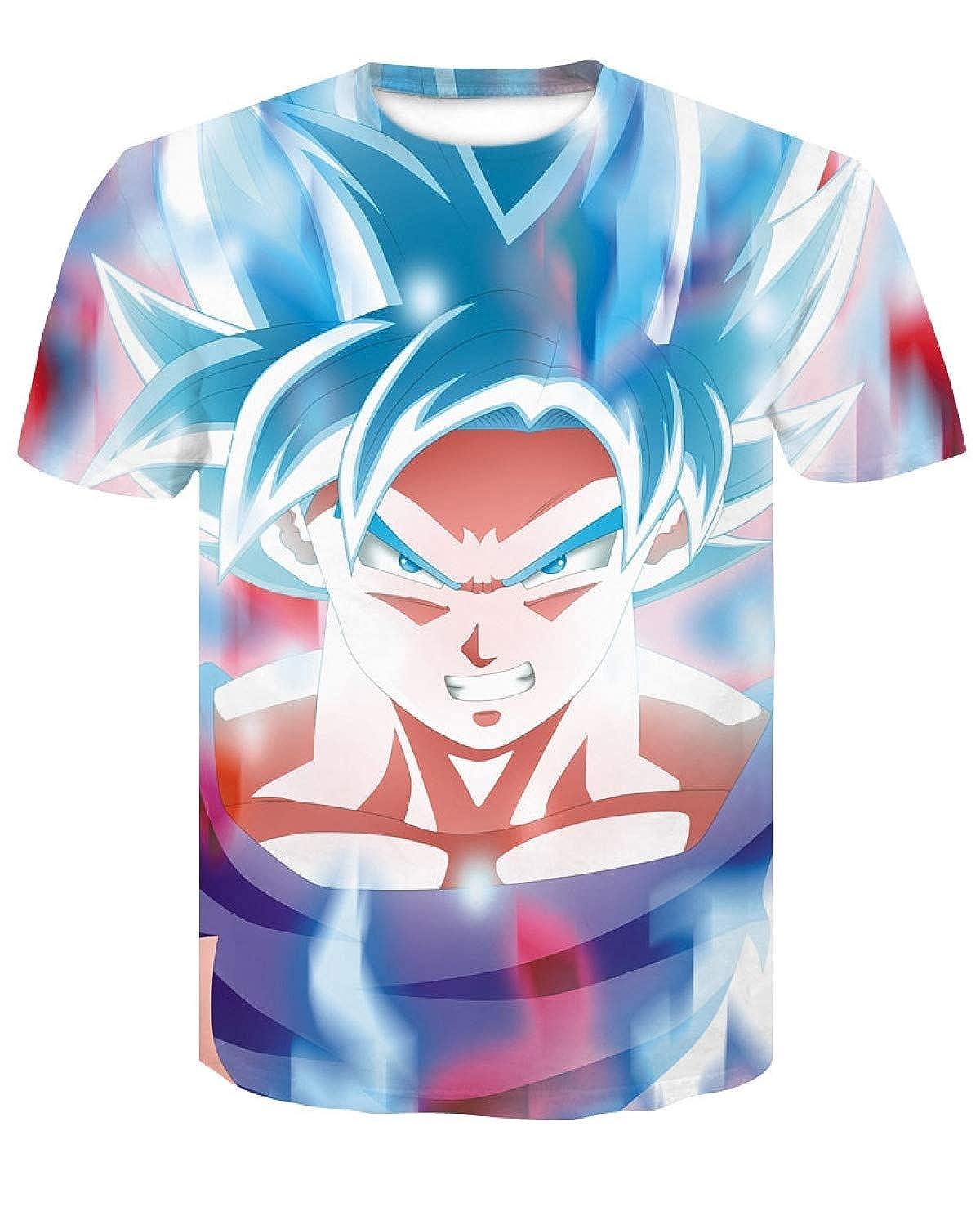 Mens 3D T Shirt Dragon Ball Goku Super Saiyan Print Cartoon Summer Top T-Shirt