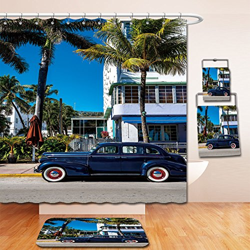 Beshowereb Bath Suit: Showercurtain Bathrug Bathtowel Handtowel Classic American Car on South Beach, - Miami Beach South Macy's