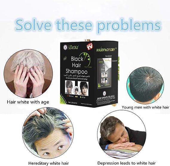 MQFORU - Tinte instantáneo para el cabello para hombres y mujeres, color negro, fácil de usar, dura 30 días, ingredientes naturales