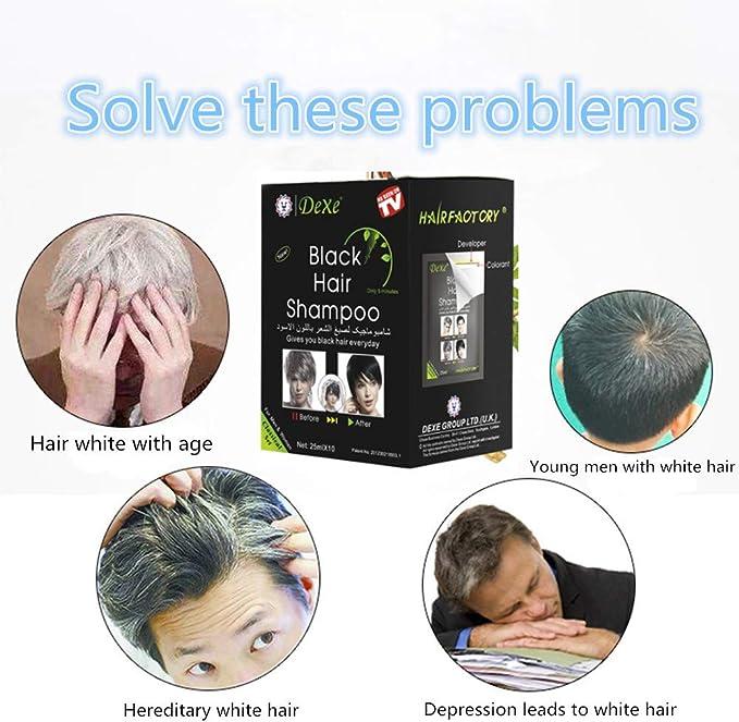 UniM Champú de tinte de cabello negro instantáneo con ingredientes naturales semipermanentes, fácil de usar, de larga duración, ingredientes naturales ...