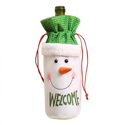 blaward muñeco de nieve Elk y Santa Claus para botella de vino, diseño de decoraciones