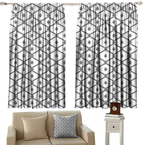 - DUCKIL Room Darkening Wide Curtains Geometric Symmetrical Marine Themed Abstract Image Sea Rope and Nautical Logo Pattern Thermal Insulated Tie Up Curtain W55 xL63 Dark Blue White