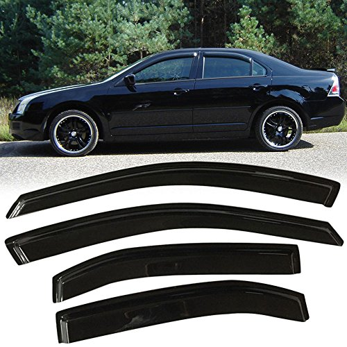 (Window Visor fits 2006-2012 Ford Fusion | Slim Style Acrylic Smoke Tinted & Semi-Transparent 4PCS Sun Rain Shade Guard Wind Vent Air Deflector by IKON MOTORSPORTS | 2007 2008 2009 2010 2011)