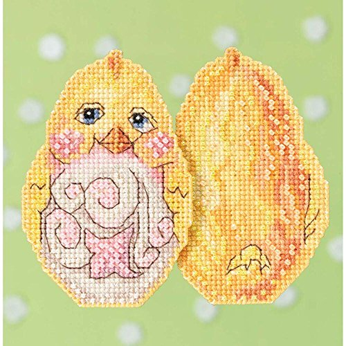 Yellow Chick Beaded Counted Cross Stitch Easter Ornament Kit Mill Hill 2017 Jim Shore JS181712 (Stitch Jim Shore Cross)