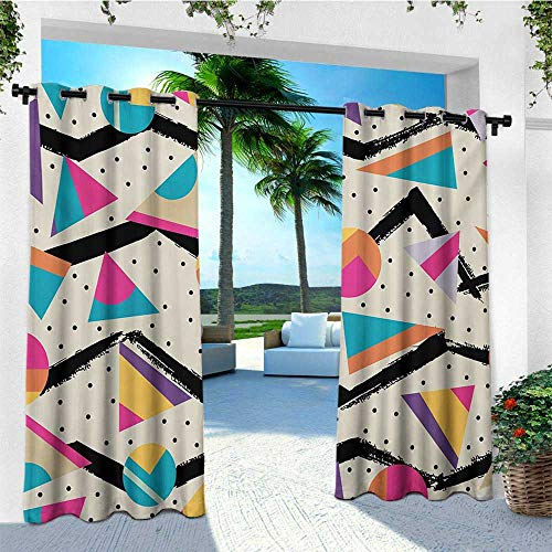 leinuoyi Indie, Outdoor Curtain Ends, Eighties Memphis Fashion Style Geometric Abstract Colorful Design with Dots Funky, Outdoor Curtain Set for Patio Waterproof W96 x L108 Inch Multicolor
