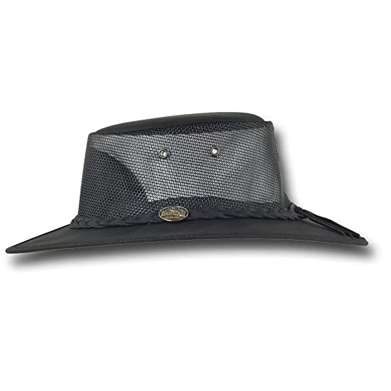 8446a94b2c5 Barmah Hats Foldaway Bronco Cooler Leather Hat - Item 1062 at Amazon Men s  Clothing store