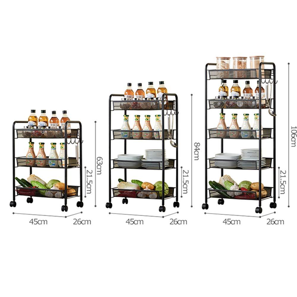 Kitchen shelf HUO Sturdy Rolling Cart Multifunction Home (Black) - 3/4/5 Layer Multifunction (Size : 4526106cm) by Kitchen shelf (Image #3)