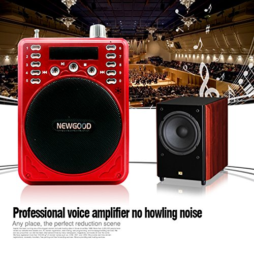 NEWGOOD Portable Professional Voice Amplifier speaker Booster Megaphone with Wired Microphone FM Radio TF USB MP3 Music Player and Voice Recorder For Sales Promotion(red)