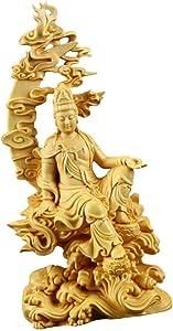Guan Yin Statue Wood Fengshui Chinese Buddha Sculpture Lucky Happiness Kwan Yin Figurine Kuan Yin Ornament for Home Decor Housewarming Gifts 8.5x4x18cm