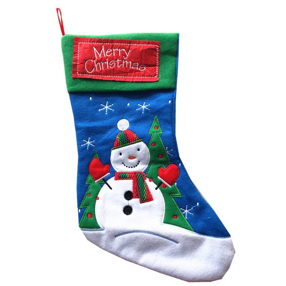 Lavany Christmas Stockings,Tree Ornaments Embroidered Sock Candy Bag Xmas Hang Decor (Snowman)