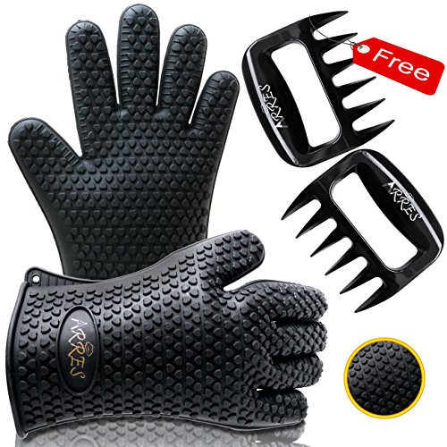 Read About Barbecue Gloves & Pulled Pork Claws Set - Silicone Heat Resistant Grilling Accessories & ...