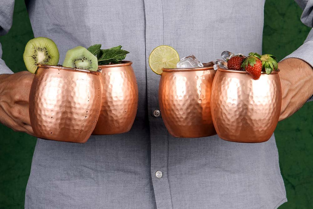 A29 Moscow Mule 100 % Solid Pure Copper Mug /Cup (16-Ounce/Set of 4, Hammered) with BONUS Shot Glass and Free Recipe Booklet by A29 (Image #4)